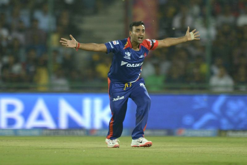 Delhi Daredevils bowler Amit Mishra celebrates fall of a wicket during an IPL-2015 match between Delhi Daredevils and Kolkata Knight Riders at Feroz Shah Kotla stadium, in New Delhi, on ... - Amit Mishra and Feroz Shah Kotla