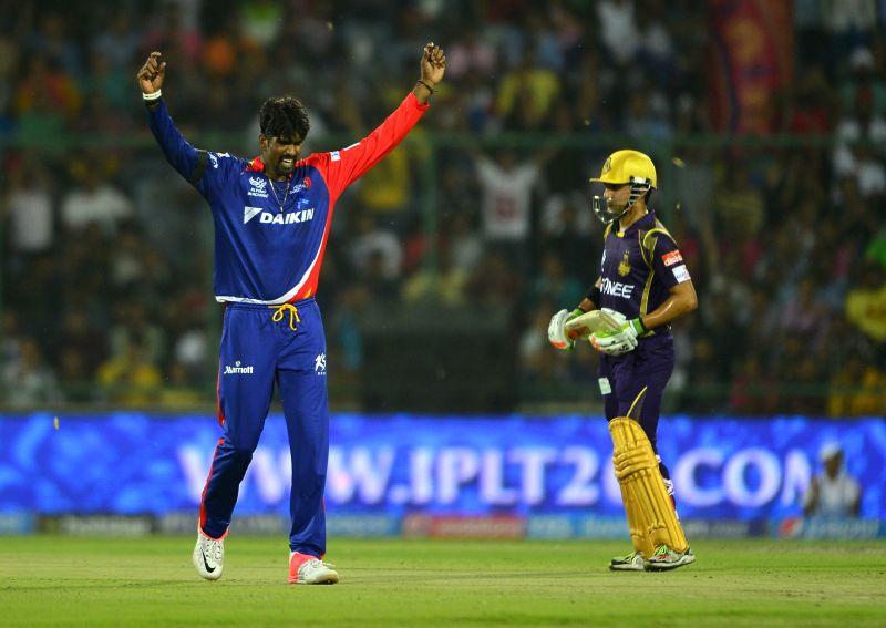 Delhi Daredevils bowler Domnic Muthuswami during an IPL-2015 match between Delhi Daredevils and Kolkata Knight Riders at Feroz Shah Kotla stadium, in New Delhi, on April 20, 2015. - Domnic Muthuswami and Feroz Shah Kotla