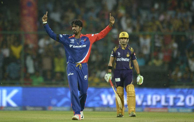 Delhi Daredevils bowler Domnic Muthuswami celebrates fall of a wicket during an IPL-2015 match between Delhi Daredevils and Kolkata Knight Riders at Feroz Shah Kotla stadium, in New Delhi, ... - Domnic Muthuswami and Feroz Shah Kotla