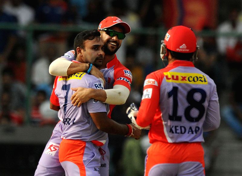 New Delhi:Delhi Daredevils celebrate fall of a wicket during an IPL 2015 match between Delhi Daredevils and Kings XI Punjab at the Feroz Shah Kotla stadium in New Delhi, on May 1, 2015. - Feroz Shah Kotla