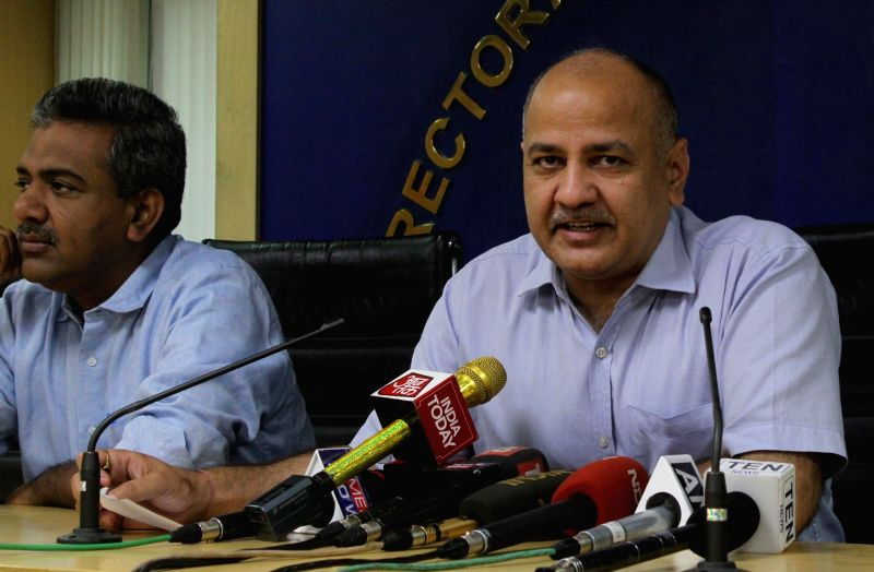 New Delhi: Delhi Deputy Chief Minister Manish Sisodia addresses a press conference in New Delhi on May 16, 2017. - Manish Sisodia