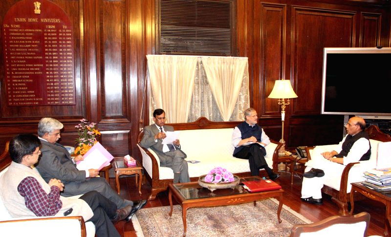 Delhi  Lt. Governor Najeeb Jung and Delhi Police Commissioner B.S. Bassi call on Union Home Minister Rajnath Singh in New Delhi, on March 4, 2015.