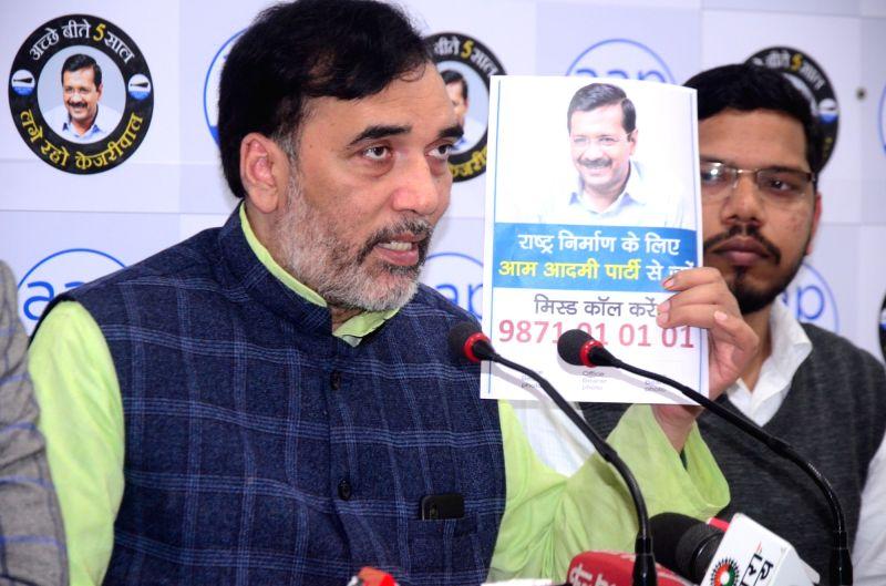 New Delhi: Delhi Minister and AAP leader Gopal Rai addresses a press conference in New Delhi on Feb 22, 2020. (Photo: IANS)