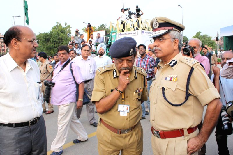 Delhi Police Commissioner BS Bassi during the mass yoga demonstration at Rajpath on the occasion of International Yoga Day, in New Delhi on June 21, 2015.