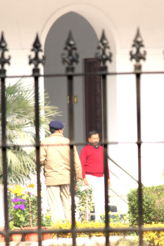 Delhi`s Chief Minister-designate Arvind Kejriwal leaves after meeting with Prime Minister Narendra Modi at PM`s residence, in New Delhi on Feb 12, 2015. - Narendra Modi