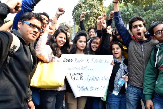 Delhi University students raise slogans during a demonstration in front of HRD Ministry at Shastri Bhavan to demand AICTE approval for university's B.Tech course in New Delhi on Feb 12, ...