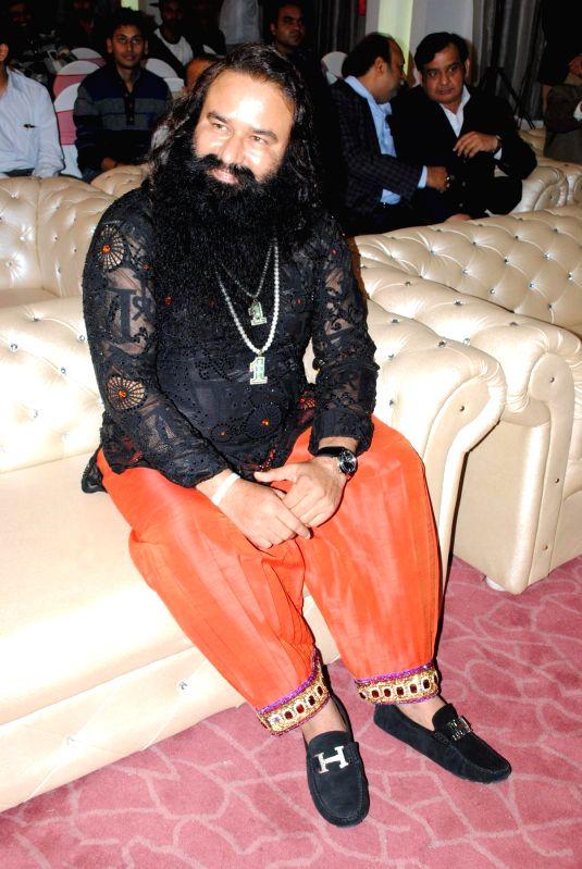Dera Saccha Sauda chief Gurmeet Ram Rahim Singh during the success party of his film `MSG - The Messenger of God` in New Delhi, on Feb 20, 2015.