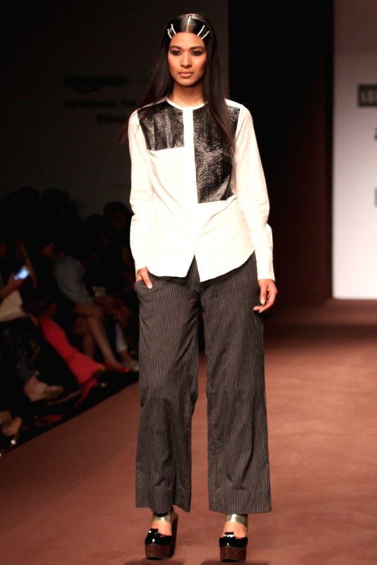 Designer Abraham Thakore  Amazon India Fashion Week on March 26,2015.