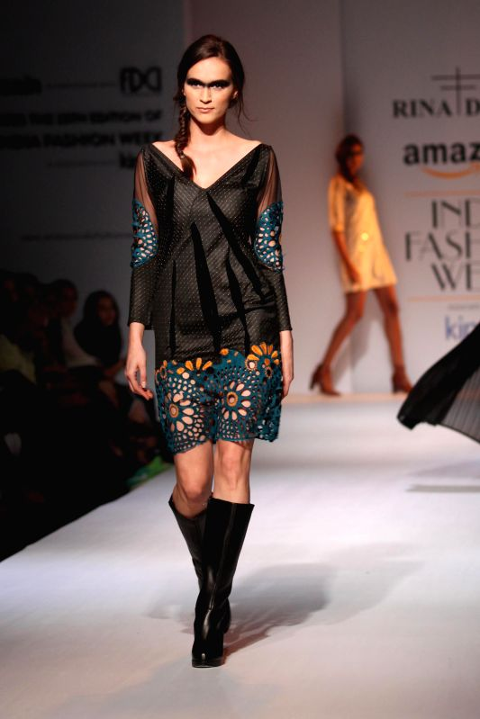 Designer Rina Dhaka Amazon India Fashion Week on March 26,2015.