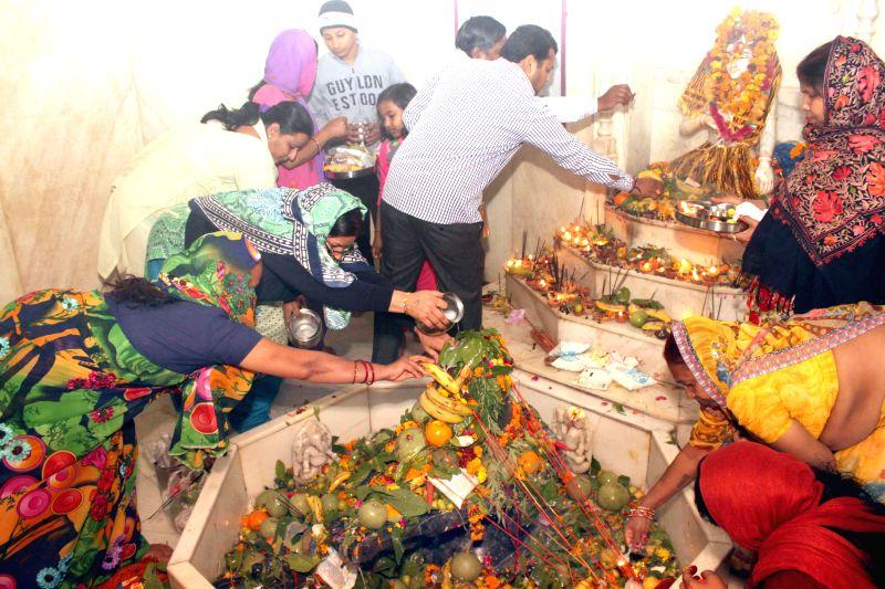 Devotees worship Lord Shiva on Mahashivratri, at a New Delhi temple on Feb 17, 2015.