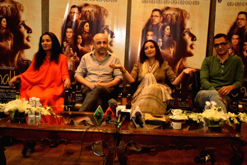 "New Delhi: Director Brahmanand S. Siingh and actors Tannishtha Chatterjee, Sanjay Suri and Divya Dutta interact with the media during the promotions of their upcoming film ""Jhalki"" in New Delhi on Nov 9, 2019. (Photo: IANS)"