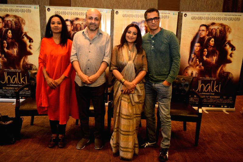 "New Delhi: Director Brahmanand S. Siingh with actors Tannishtha Chatterjee, Sanjay Suri and Divya Dutta during the promotions of their upcoming film ""Jhalki"" in New Delhi on Nov 9, 2019. (Photo: IANS)"