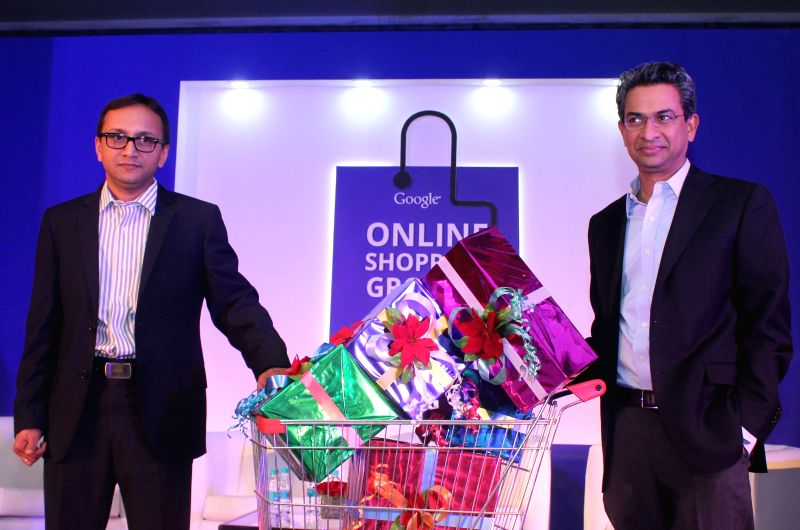 Director for e-commerce local and classified google India Nitin Bawankule and MD Rajan Anand during release of Google`s annual online shopping growth trends report in New Delhi on Nov. 20,