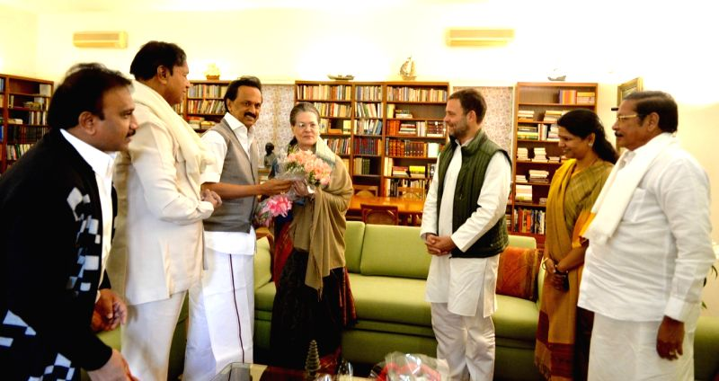 New Delhi: DMK President M.K. Stalin along with  MP Kanimozhi and other party leaders call on UPA chief Sonia Gandhi to greet her on her birthday in New Delhi on Dec 9, 2018. Also seen Congress President Rahul Gandhi. (Photo: IANS)
