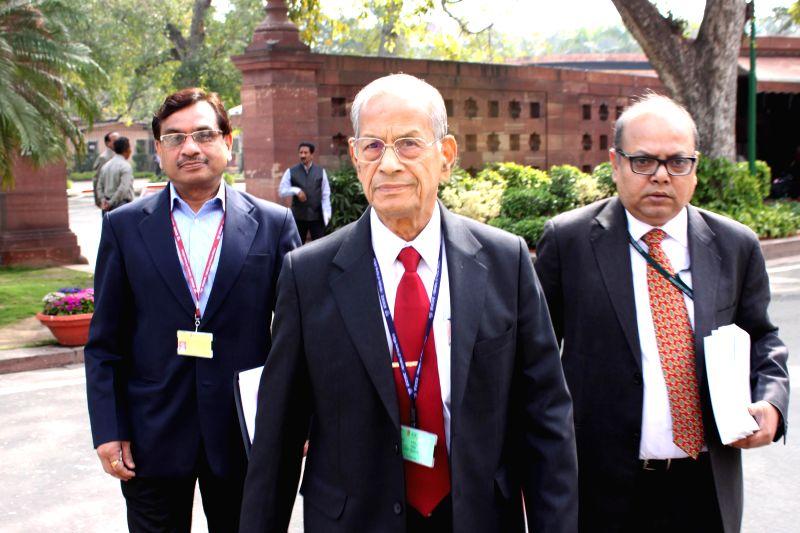 DMRC principal advisor E Sreedharan at the Parliament in New Delhi, on March 11, 2015.