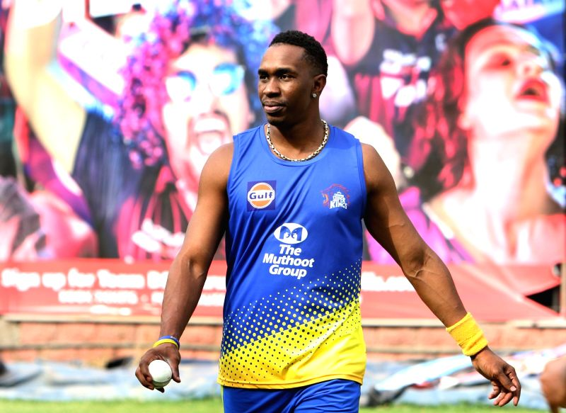 New Delhi: Dwayne Bravo of Chennai Super Kings during a practice session ahead of an IPL 2018 match against Delhi Daredevils in New Delhi, on May 17, 2018. (Photo: Surjeet Yadav/IANS)