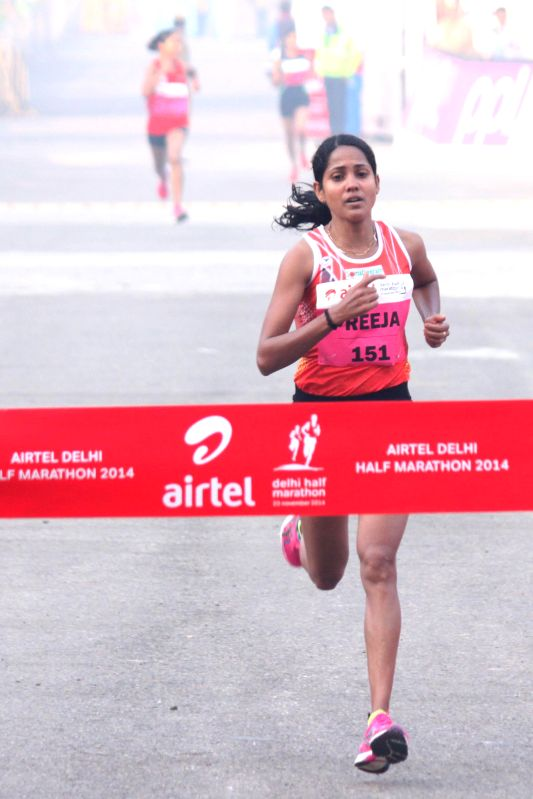 Elite Indian women category  Preeja Sreedharan won it with a timing of 01:19:03  in the Airtel Delhi Half Marathon at Jawaharlal Nehru Stadium in New Delhi on Nov 23, 2014.