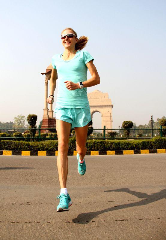 Event Ambassador for the Airtel Delhi Half Marathon and champion marathoner Paula Radcliffe practice at India Gate in New Delhi on Nov 22, 2014.