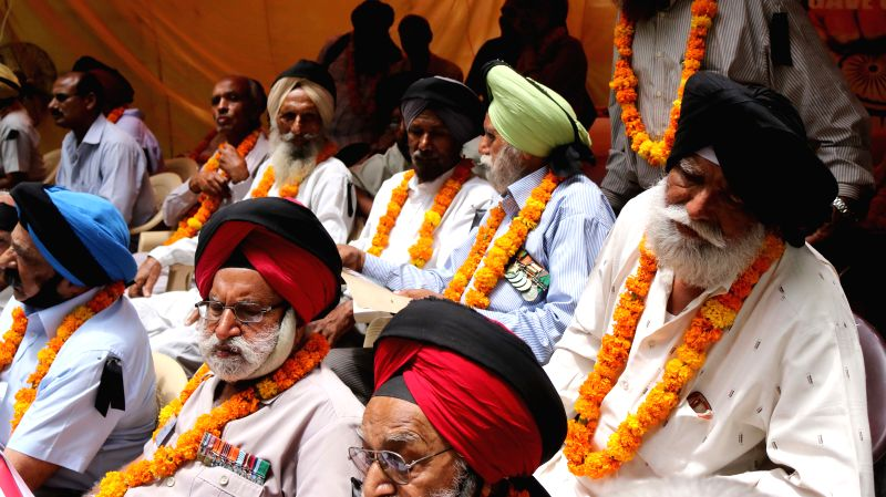 Ex-servicemen stage a demonstration to press for `One Rank One Pension` at  Jantar Mantar in New Delhi, on June 15, 2015.