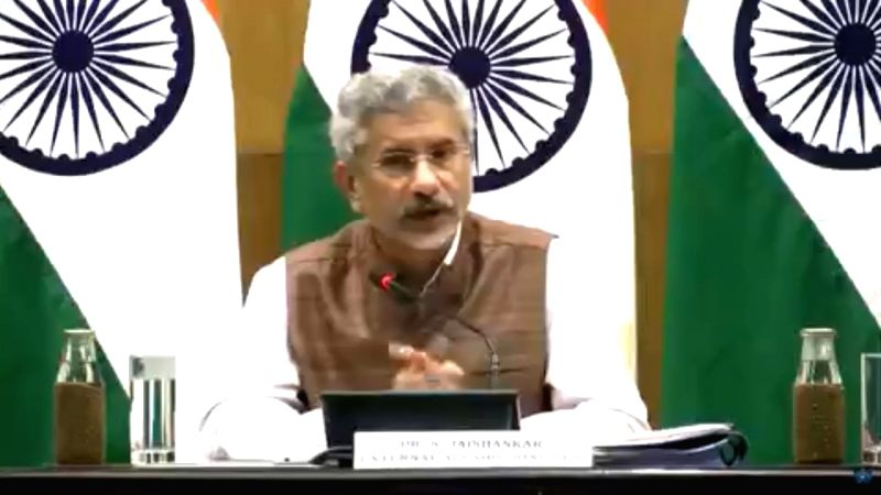 New Delhi: External Affairs Minister S. Jaishankar addresses a press conference on 100 days of Government, in New Delhi on Sep 17, 2019. (Photo: IANS/MEA)