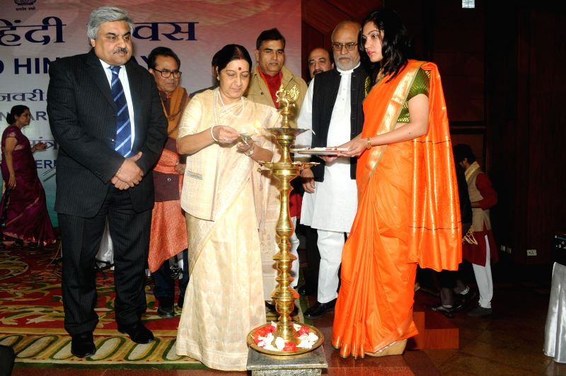 External Affairs Minister Sushma Swaraj inaugurates a programme organised to celebrate the World Hindi Day in New Delhi, on Jan 10, 2015. - Sushma Swaraj