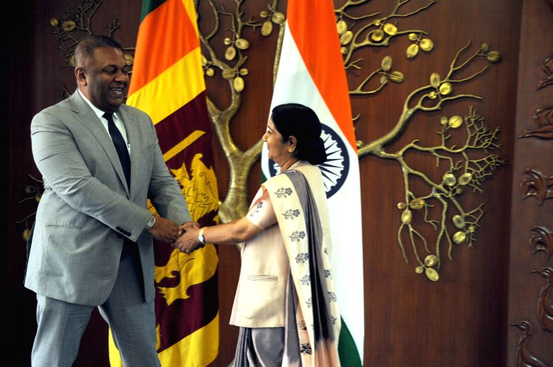 External Affairs Minister Sushma Swaraj during a meeting with Foreign Minister of Sri Lanka Mangala Samaraweera in New Delhi, on Jan 18, 2015.