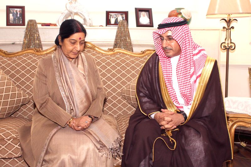 New Delhi : External Affairs Minister Sushma Swaraj with Ambassador of Saudi Arabia to India Dr. Saud Alsatilt at Ambassador's residence to express her condolence on death of Saudi Arabia's King ... - Sushma Swaraj