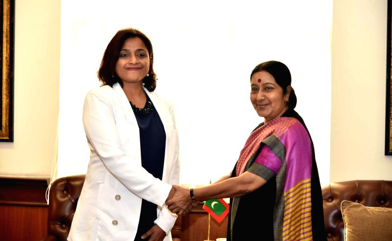 External Affairs Minister Sushma Swaraj meets the Minister of Foreign Affairs of the Republic of Maldives Dunya Maumoon in New Delhi on Feb 15, 2015.