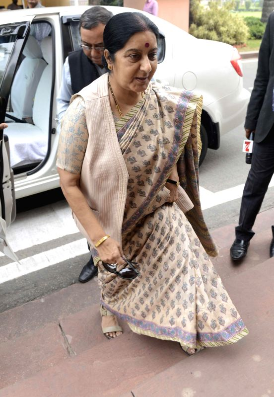 External Affairs Minister Sushma Swaraj arrives to attend the budget session of the Parliament in New Delhi, on Feb 25, 2015. - Sushma Swaraj