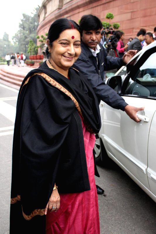 External Affairs Minister Sushma Swaraj at the Parliament in New Delhi, on March 3, 2015. - Sushma Swaraj