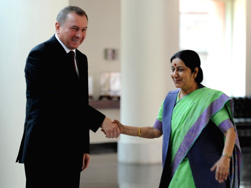 External Affairs Minister Sushma Swaraj during a meeting with her counterpart from Belarus, Vladimir Makei at Jawahar Bhavan in New Delhi on April 15, 2015.
