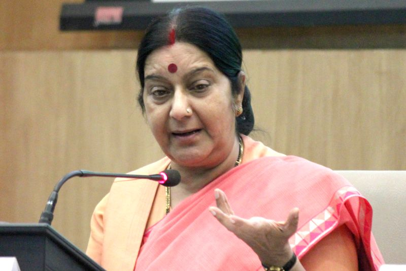 External Affairs Minister Sushma Swaraj addresses during a press conference regarding `International Day of Yoga` in New Delhi, on June 9, 2015. ​ - Sushma Swaraj