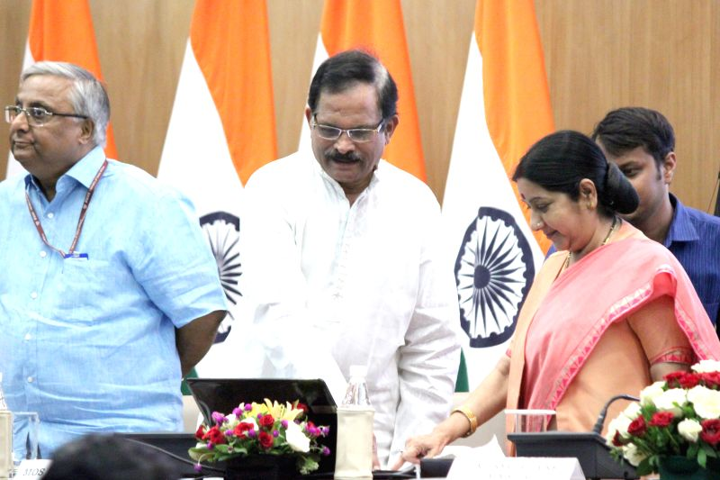 External Affairs Minister Sushma Swaraj and Union Minister of State (IC), Ministry of AYUSH Shripad Yesso Naik during a joint press conference regarding `International Day of Yoga` in New ... - Sushma Swaraj