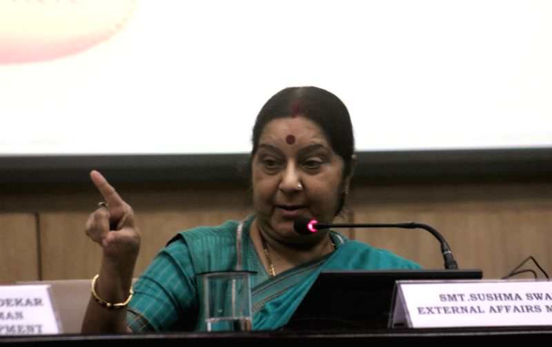 New Delhi:External Affairs Minister Sushma Swaraj addresses during a programme organised to launch integration of e-Sanad with CBSE's academic repository in New Delhi on May 24, 2017. 'e-Sanad' ... - Sushma Swaraj
