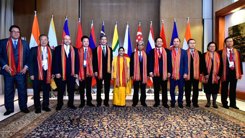 New Delhi:External Affairs Minister Sushma Swaraj, with various Dignitaries of ASEAN in a group photo during Third Plenary Session of Delhi Dialogue,in New Delhi, on July 19, 2018. - Sushma Swaraj