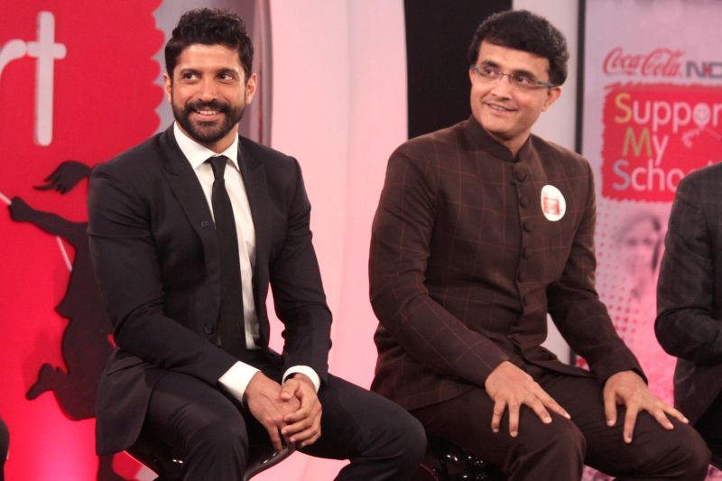 Farhan Akhtar and Saurav Ganguly at a function to celebrate the milestone of revitalizing 500 schools across India as part of the Support My School campaign on April 21, 2015. (Amlan ... - Farhan Akhtar