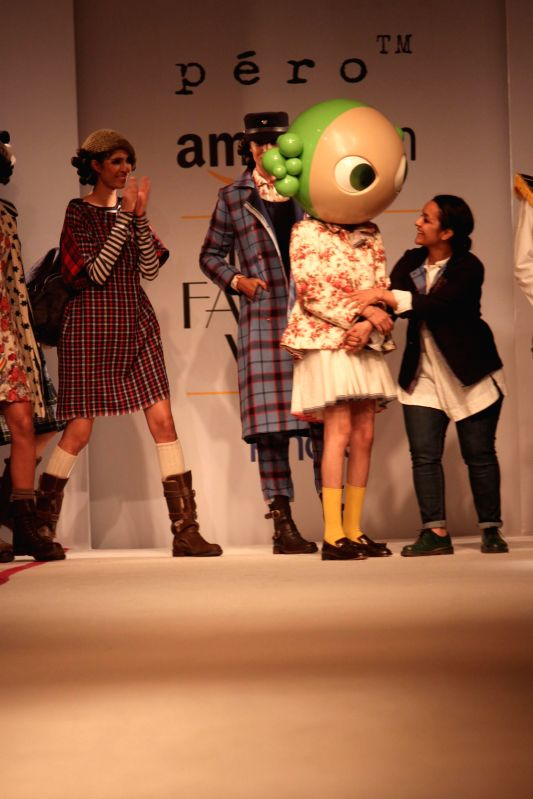 Fashion designer Aneeth Arora during her show at the Amazon India Fashion Week in New Delhi, on March 28, 2015.