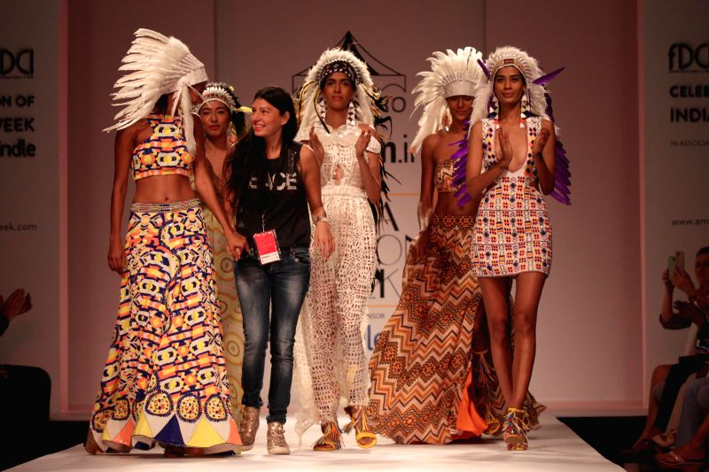 Fashion designer Pia Pauro during her show at the Amazon India Fashion Week in New Delhi, on March 28, 2015.
