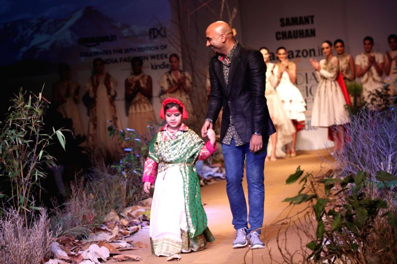 Fashion designer Samant Chauhan during his show at the Amazon India Fashion Week in New Delhi, on March 26, 2015.