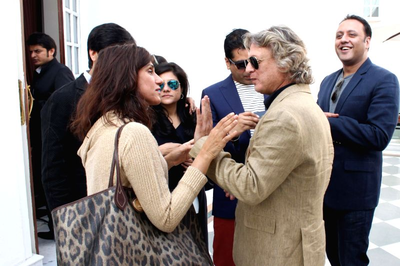Fashion designers Rohit Bal and Rina Dhaka during a programme organised to announce Amazon as the title sponsor of the 25th Edition of India Fashion Week in New Delhi on Feb 12, 2015.
