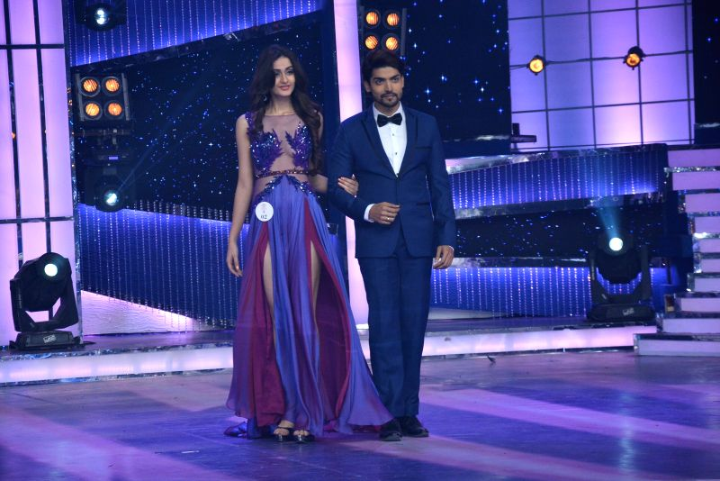 Femina Miss India World 2015 Aditi Arya with actor Gurmeet Choudhary at Yash Raj Studio in Mumbai. - Gurmeet Choudhary