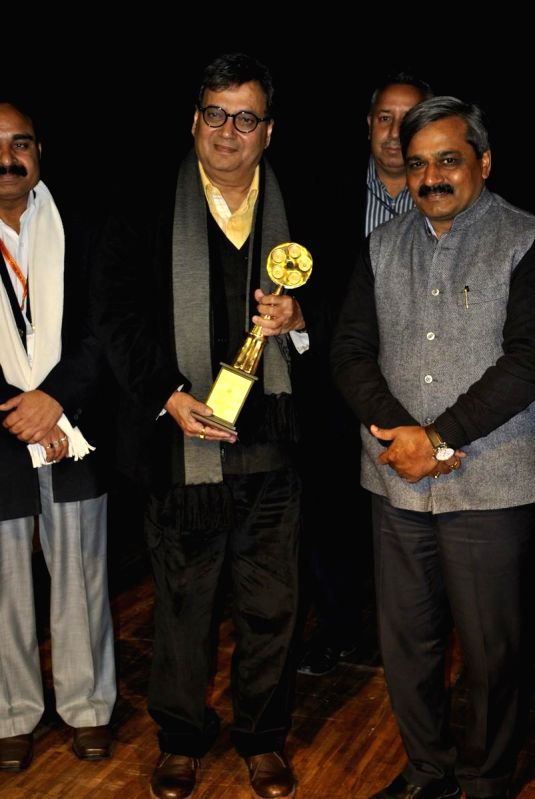 Filmmaker Subhash Ghai and Delhi BJP chief Satish Upadhyay and others during inauguration of Delhi International Film Festival at NDMC Convention Center in New Delhi on Dec 20, 2014.