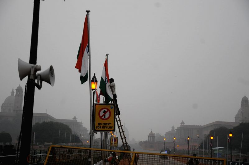 Final preparations for Republic Day programme underway at Rajpath in New Delhi, on Jan 25, 2015.