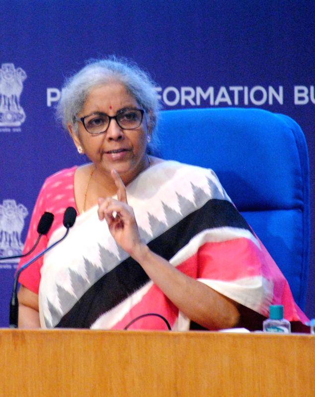 New Delhi: Finance minister Nirmala Sitharaman with Anurag Thakur address to media at the National Media center in New Delhi on Monday, June 28, 2021. (Photo: Qamar Sibtain/ IANS)