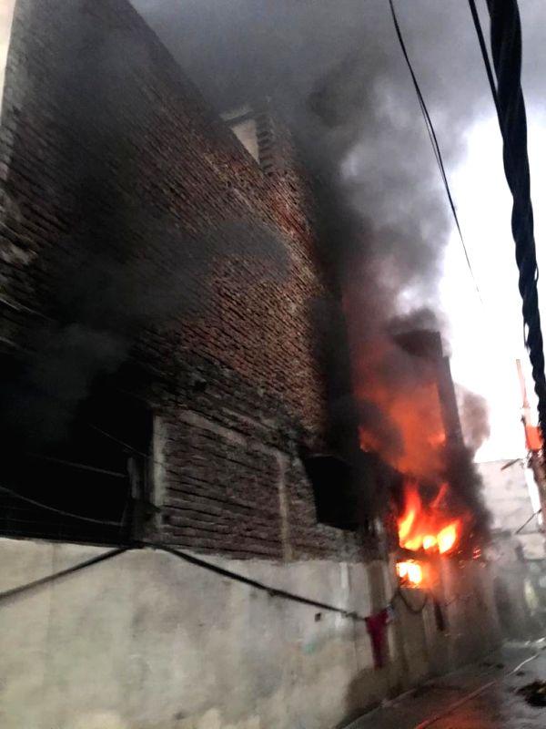 New Delhi: Fire breaks out at a show factory at Harinagar in New Delhi's Mayapuri Phase 2, on Jan 11, 2020. (Photo: IANS)