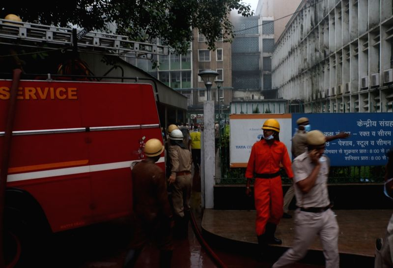 New Delhi: Firefighting operations underway at AIIMS hospital where a fire broke out on two floors of the building, in New Delhi on Aug 17, 2019. No casualties have been reported so far.