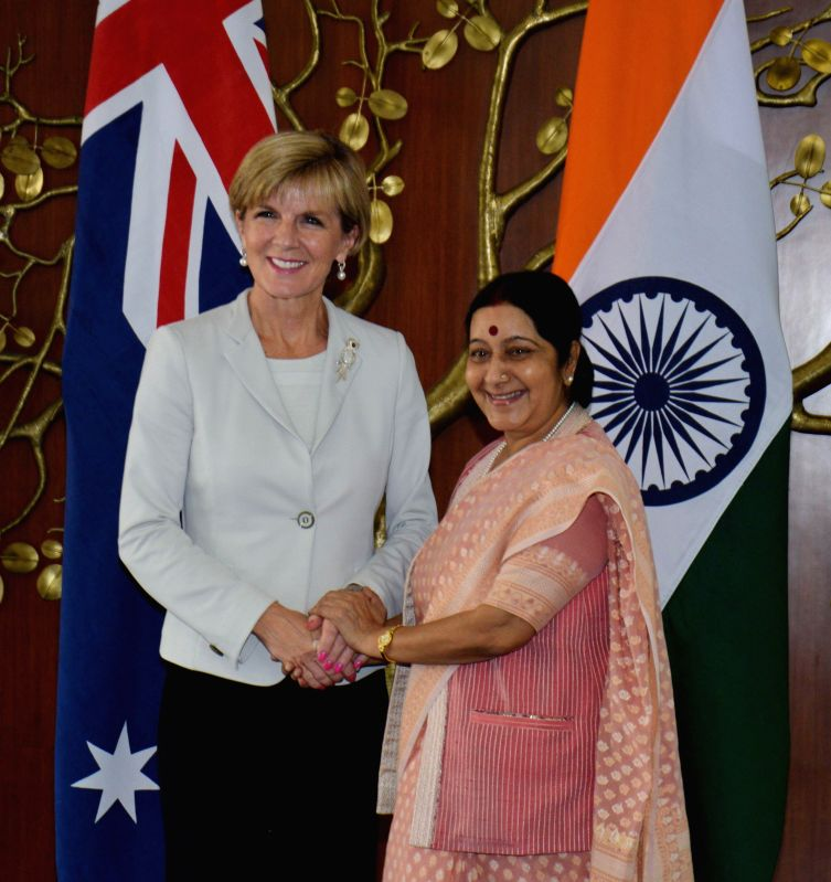 Foreign Minister of Australia Julie Isabel Bishop being received by External Affairs Minister Sushma Swaraj in New Delhi on April 14, 2015.