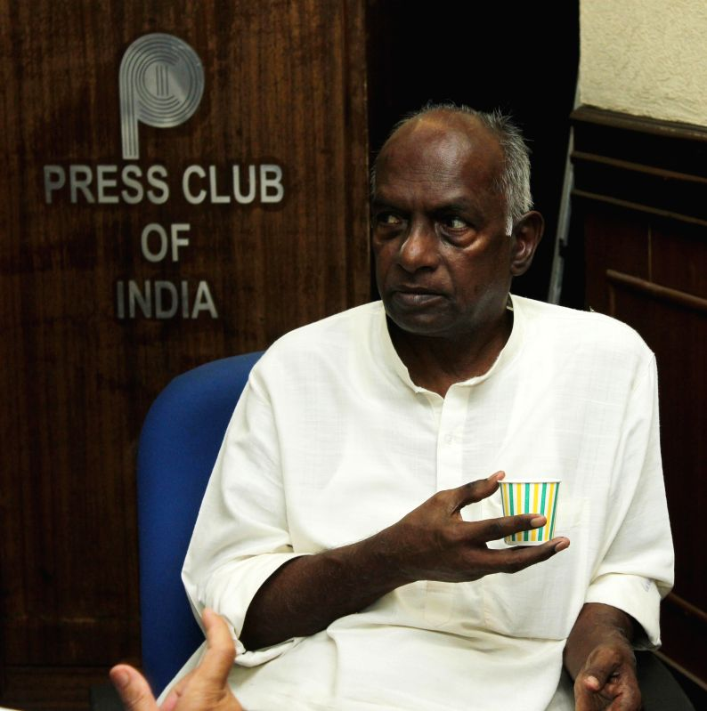 Former BJP ideologue K.N. Govindacharya during a press conference in New Delhi, on May 12, 2015.