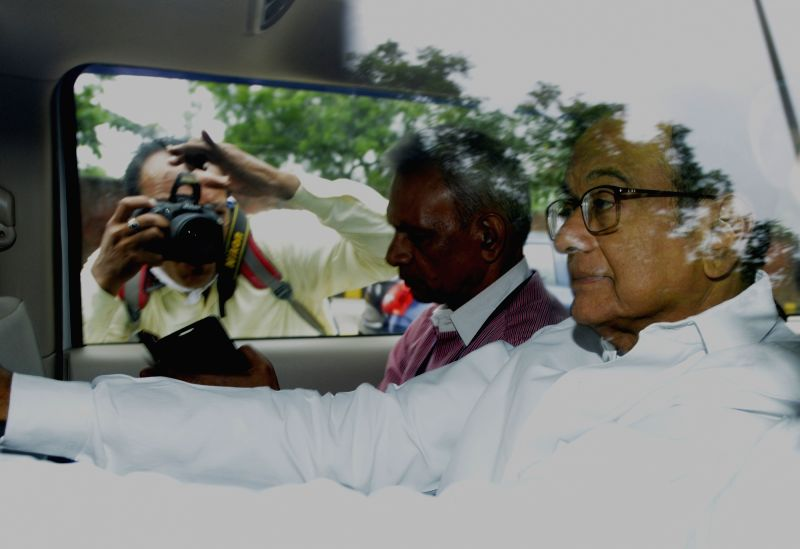 New Delhi: Former Finance Minister P. Chidambaram being taken to be produced before Delhi's Rouse Avenue Court after he was arrested by the CBI on Thursday in INX media case, in New Delhi on Aug 22, 2019. (Photo: Bidesh Manna/IANS)