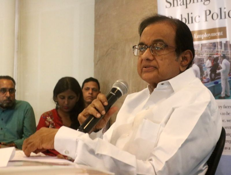 New Delhi: Former Finance Minister P. Chidambaram talks to media personnel giving his remarks on the Union Budget 2019, in New Delhi on July 8, 2019.